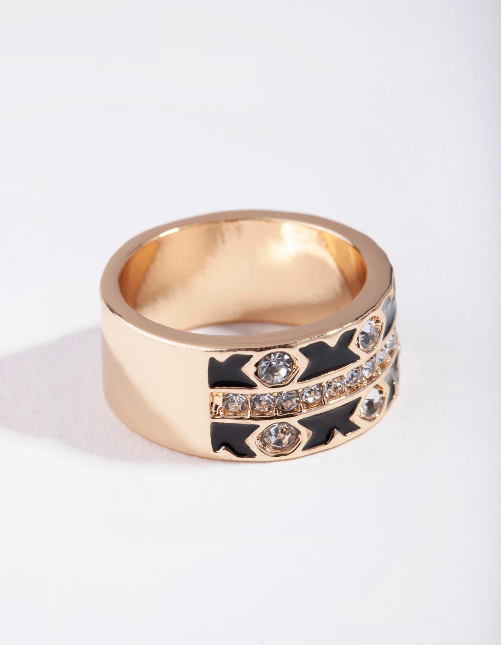 Gold Cross Enamel Diamante Ring