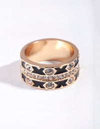 Gold Cross Enamel Diamante Ring - link has visual effect only