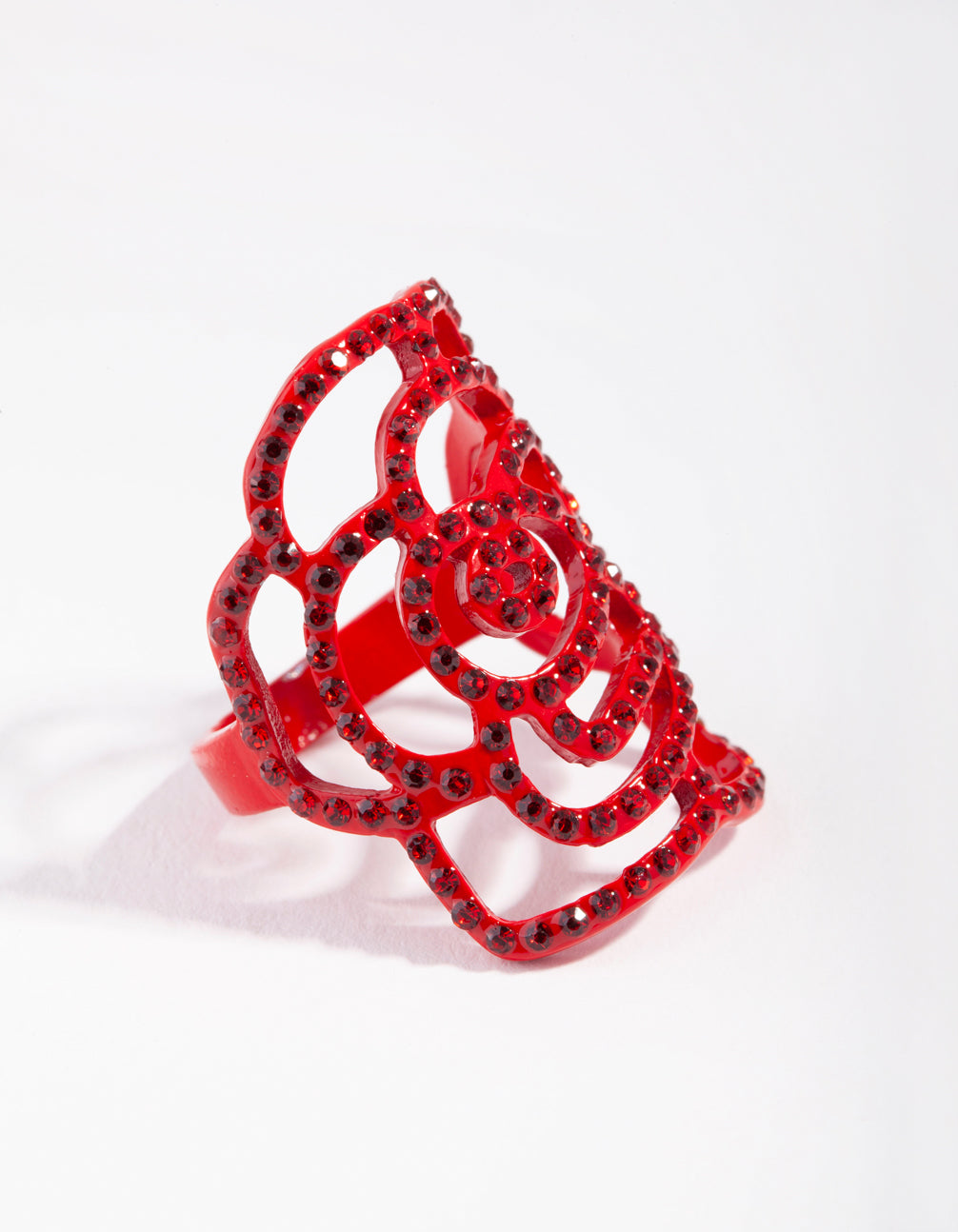 Red Diamante Cutout Rose Ring