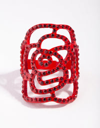 Red Diamante Cutout Rose Ring - link has visual effect only