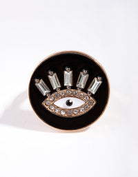 Gold Enamel Diamante Evil Eye Ring - link has visual effect only