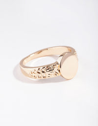Gold Square Detailed Band Ring - link has visual effect only