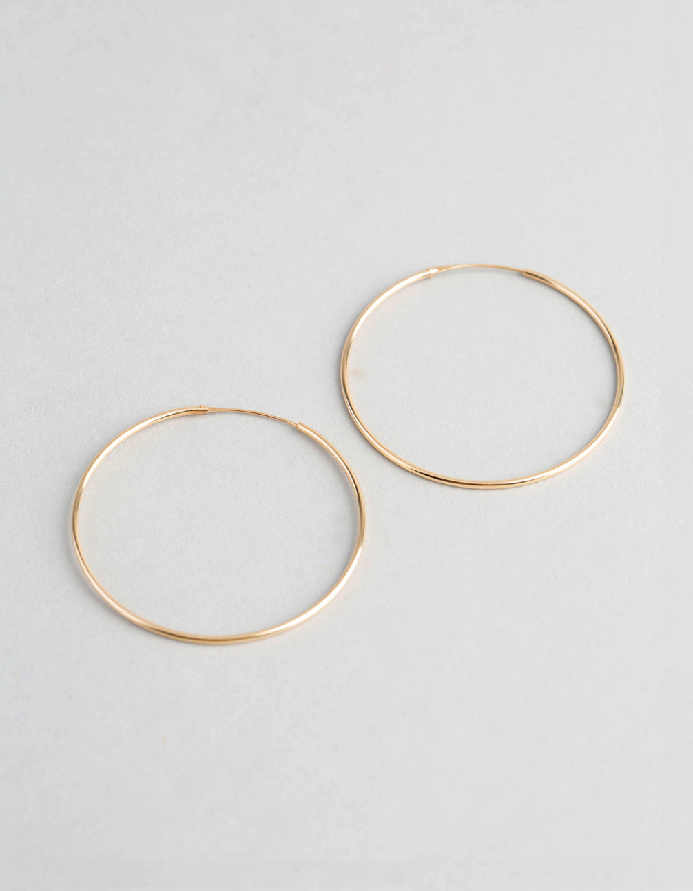 9ct Gold 40mm Fine Hoop Earrings