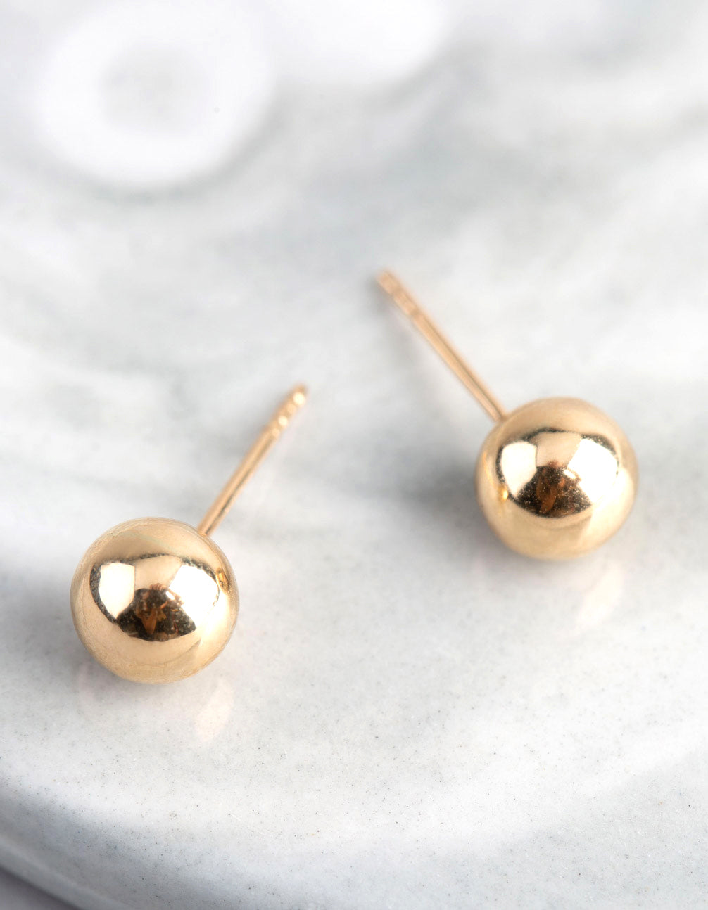 9ct Gold 6mm Polished Ball Stud Earrings
