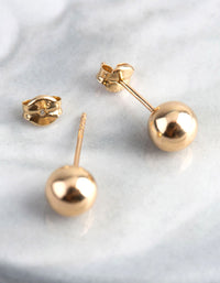 9ct Gold 6mm Polished Ball Stud Earrings - link has visual effect only