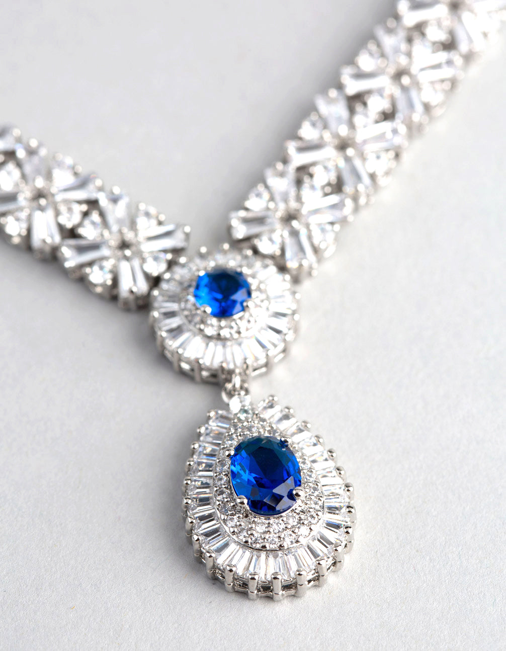 Rhodium Cubic Zirconia Crown Jewels Necklace