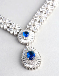 Rhodium Cubic Zirconia Crown Jewels Necklace - link has visual effect only