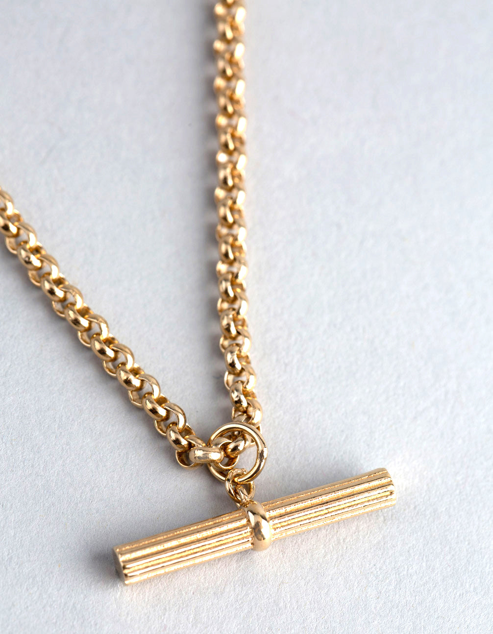 Gold Plated Sterling Silver Rolo Chain Fob Necklace