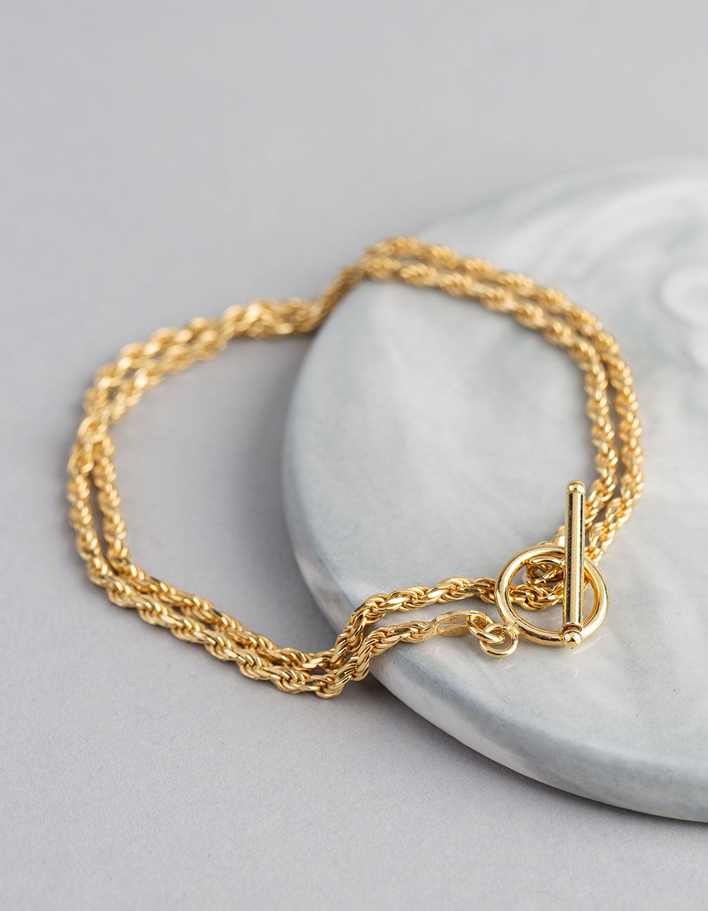 Gold Plated Sterling Silver Rope Chain T&O Wrap Bracelet