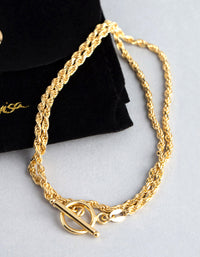 Gold Plated Sterling Silver Rope Chain T&O Wrap Bracelet - link has visual effect only