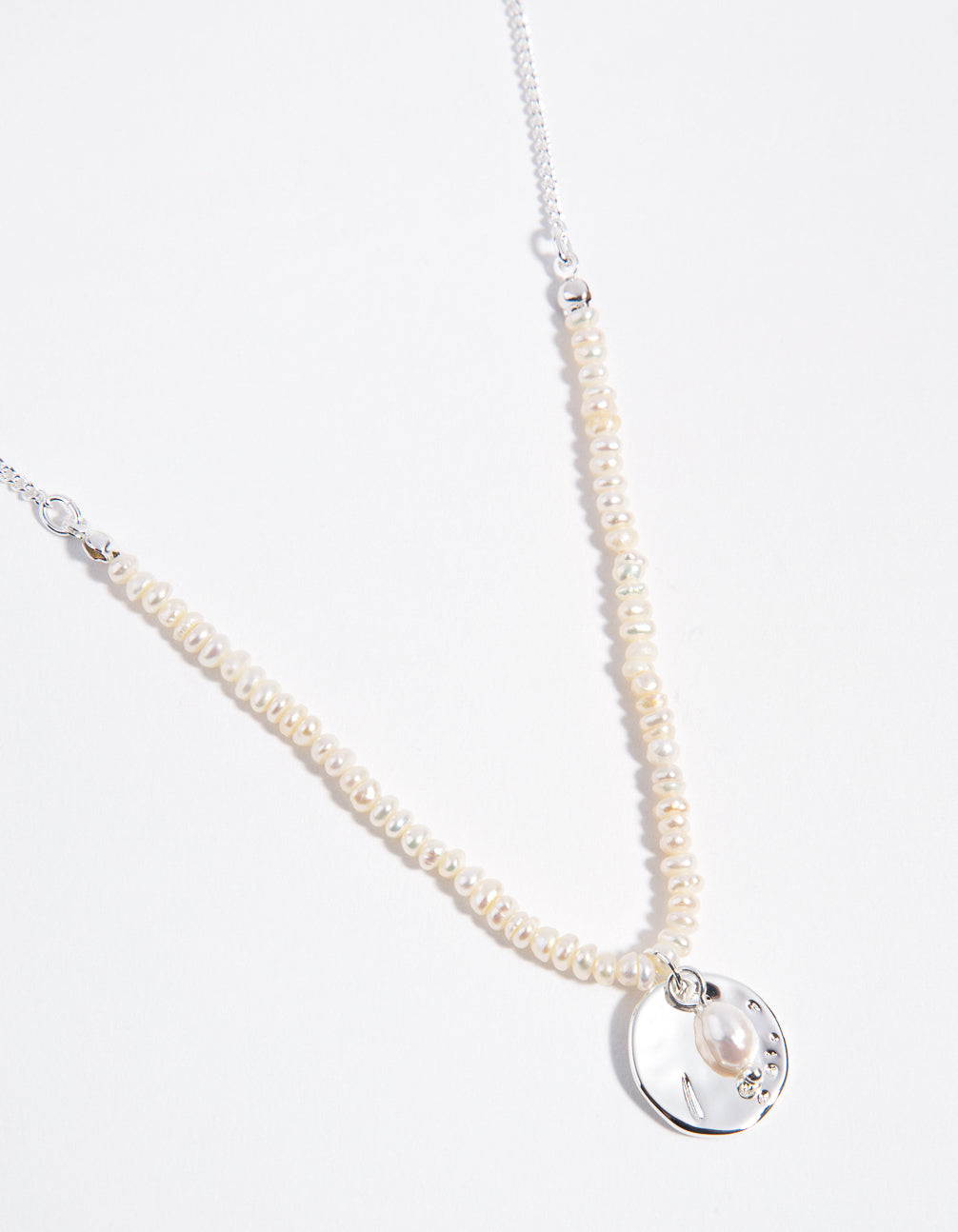 Silver Pearl and Disc 2-Row Necklace