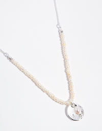 Silver Pearl and Disc 2-Row Necklace - link has visual effect only