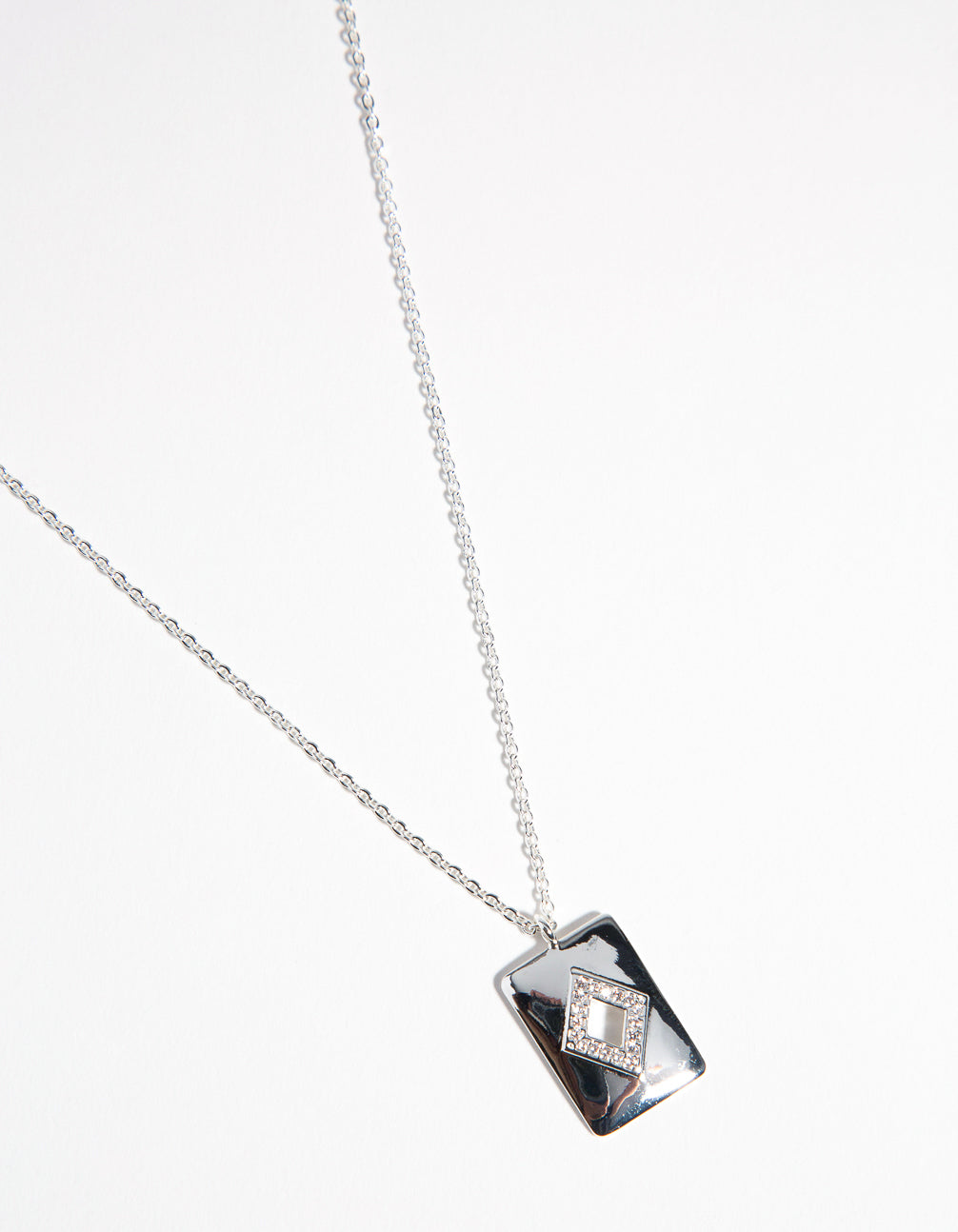 Real Silver Plated Diamond Cut Out Necklace