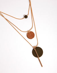 Gold Bead Disc Three-Row Necklace - link has visual effect only