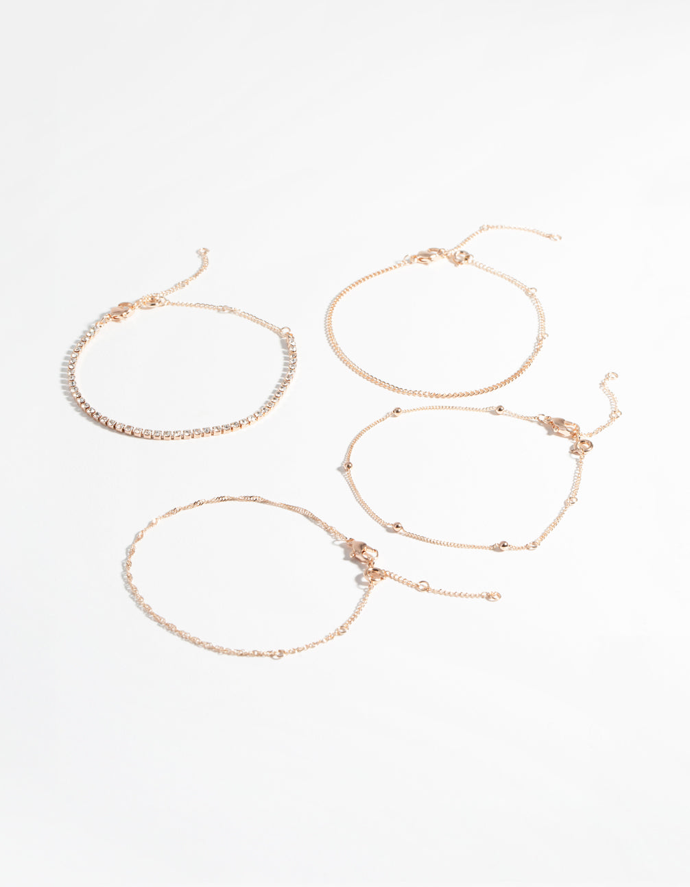 Rose Gold Diamante Twist 4-Pack Bracelet & Anklet