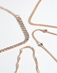 Rose Gold Diamante Twist 4-Pack Bracelet & Anklet - link has visual effect only