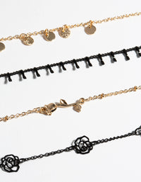 Matte Roses 4-Pack Bracelet and Anklet - link has visual effect only