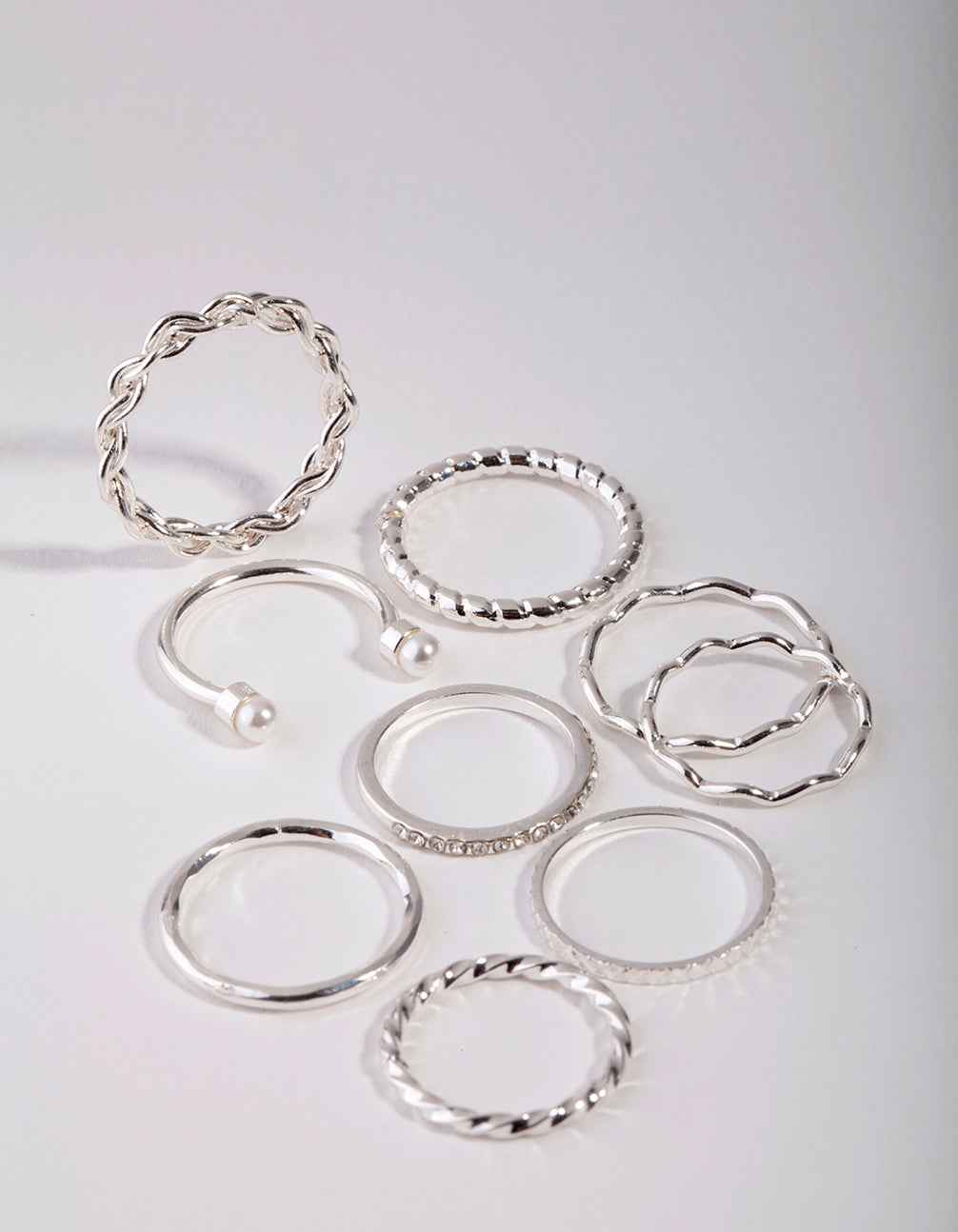 Silver Wave and Pearl Midi 9-Pack Rings