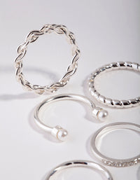 Silver Wave and Pearl Midi 9-Pack Rings - link has visual effect only