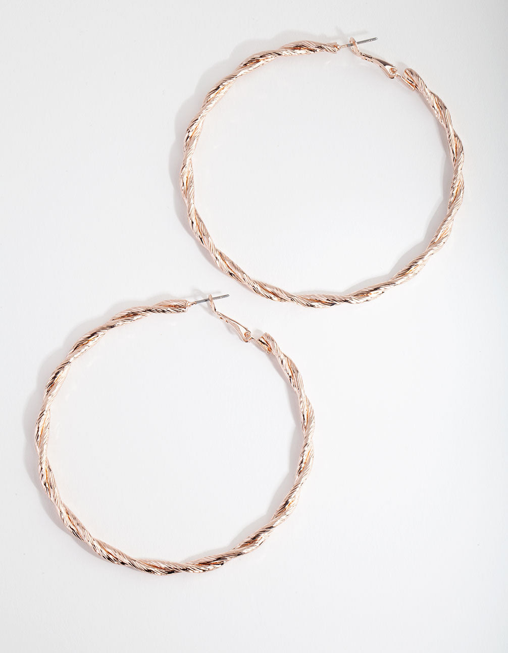 Rose Gold Double Twist Hoop Earrings