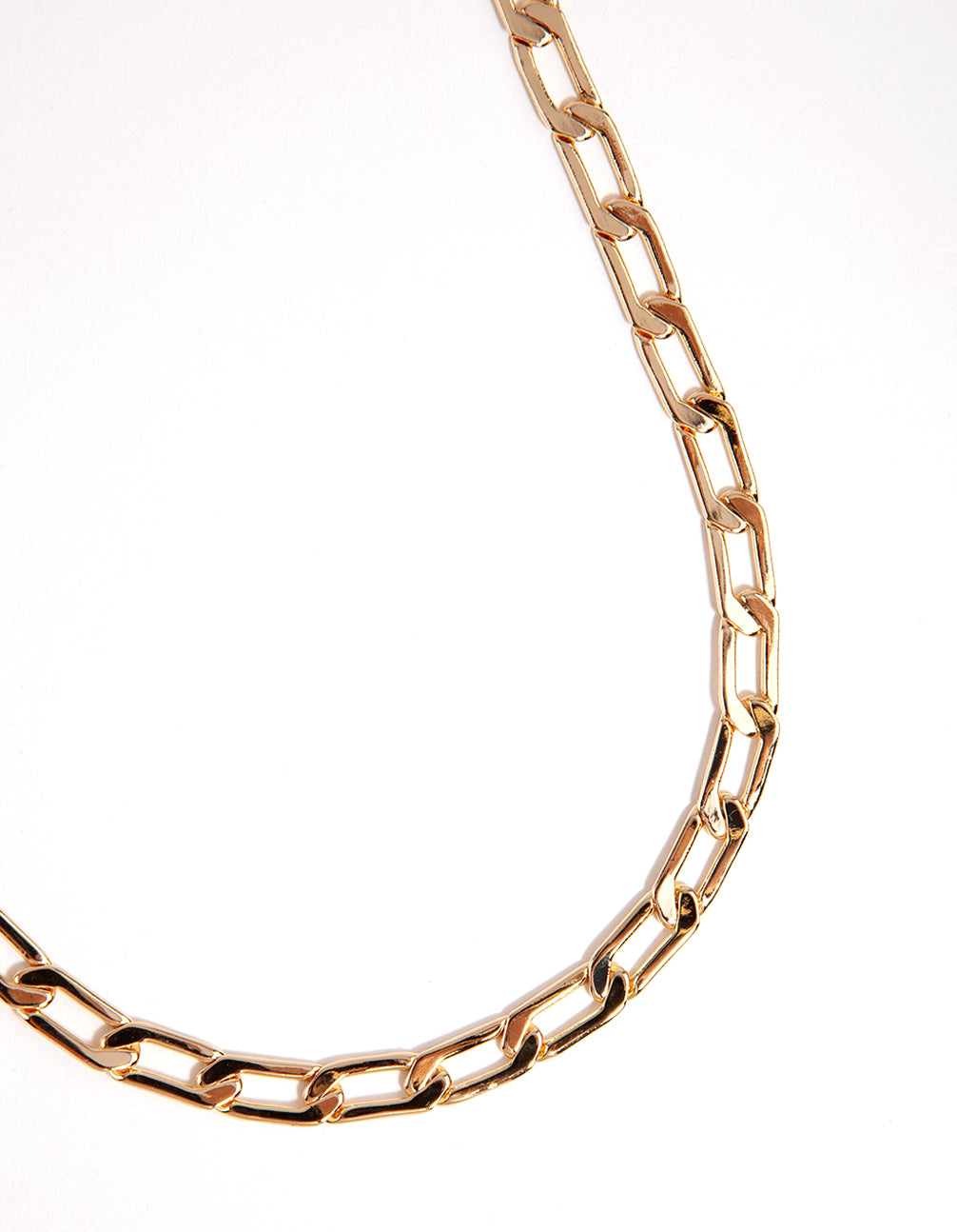 Gold Small Oblong Chain Necklace