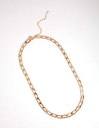 Gold Small Oblong Chain Necklace - link has visual effect only
