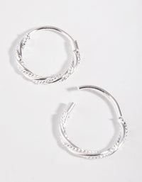 Sterling Silver Rope Twist Hoop Earrings - link has visual effect only