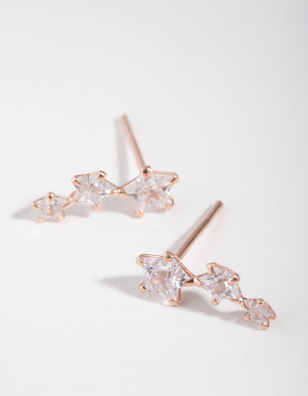Rose Gold Plated Cubic Zirconia Star Crawler Earrings