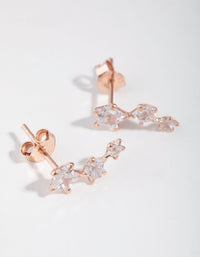 Rose Gold Plated Cubic Zirconia Star Crawler Earrings - link has visual effect only