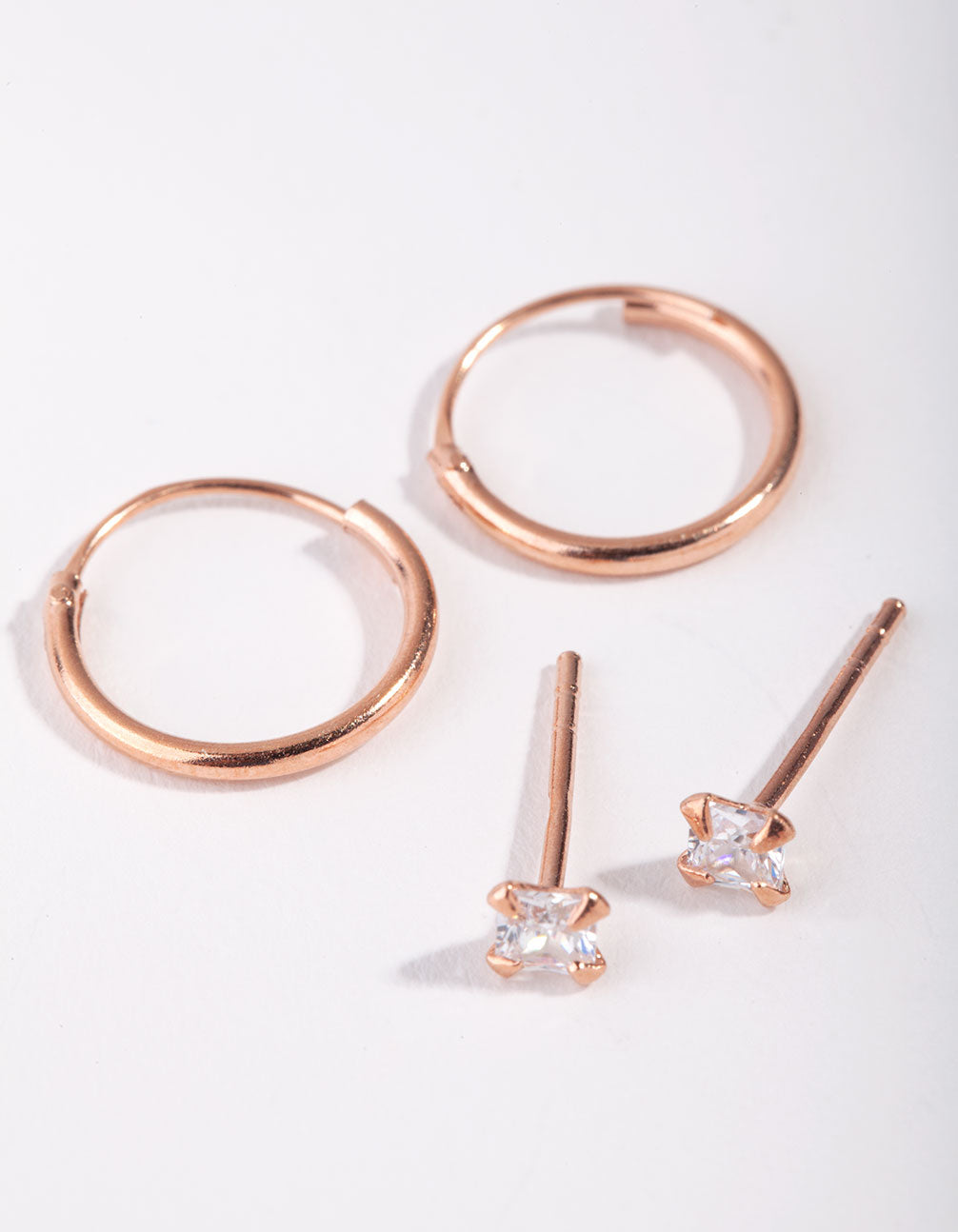 Rose Gold Plated Sterling Silver Princess Stud and Hoop 2-Pack