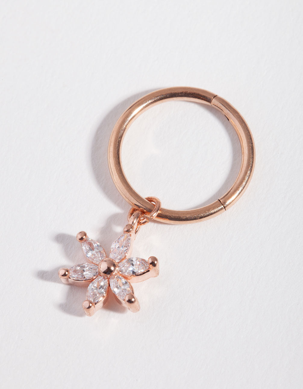 Rose Gold Cubic Zirconia Flower Charm Bellyring