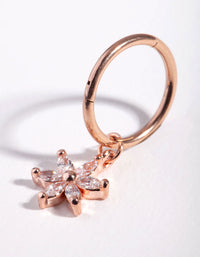 Rose Gold Cubic Zirconia Flower Charm Bellyring - link has visual effect only