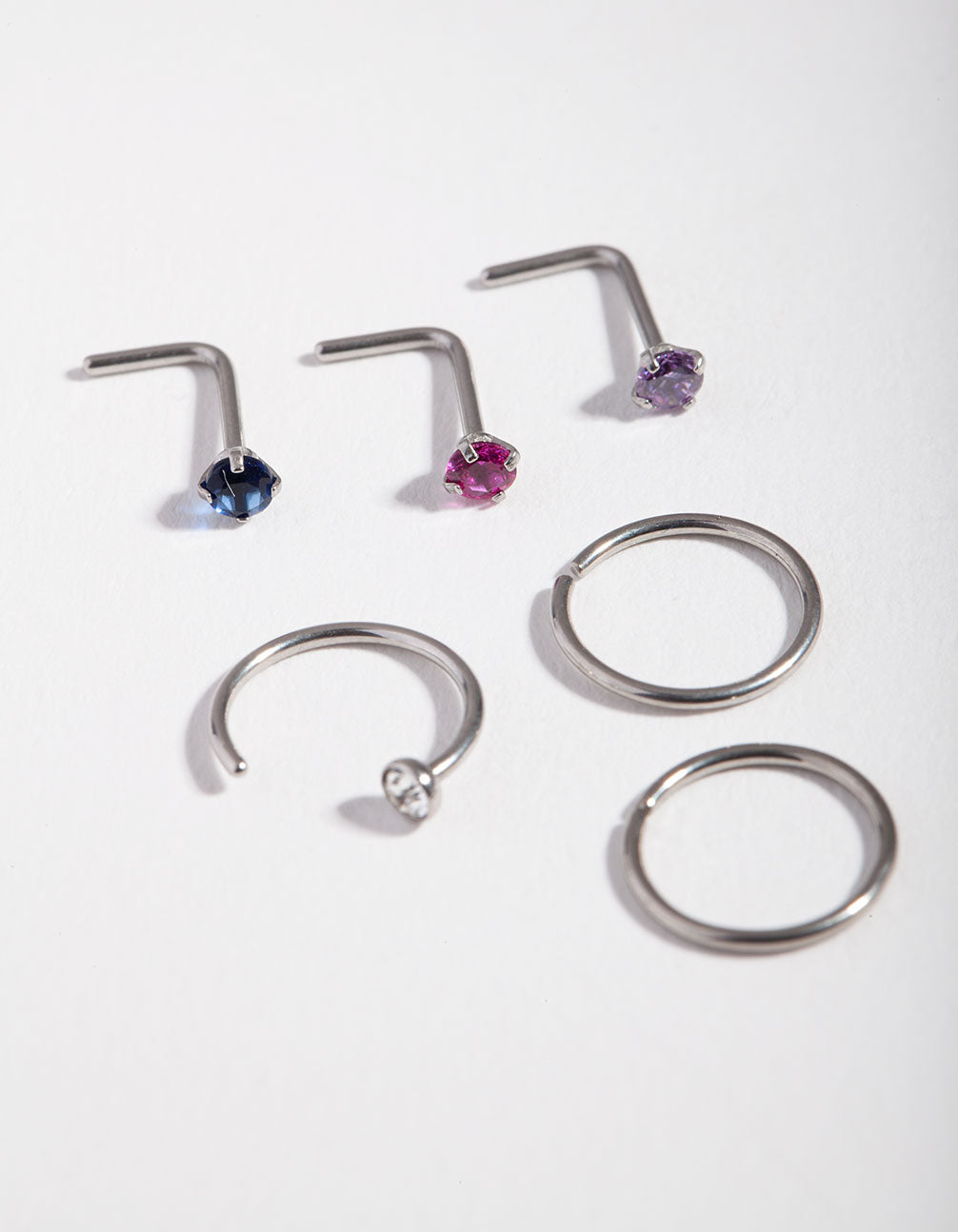 Rhodium Diamante 6-Pack Nose Piercings