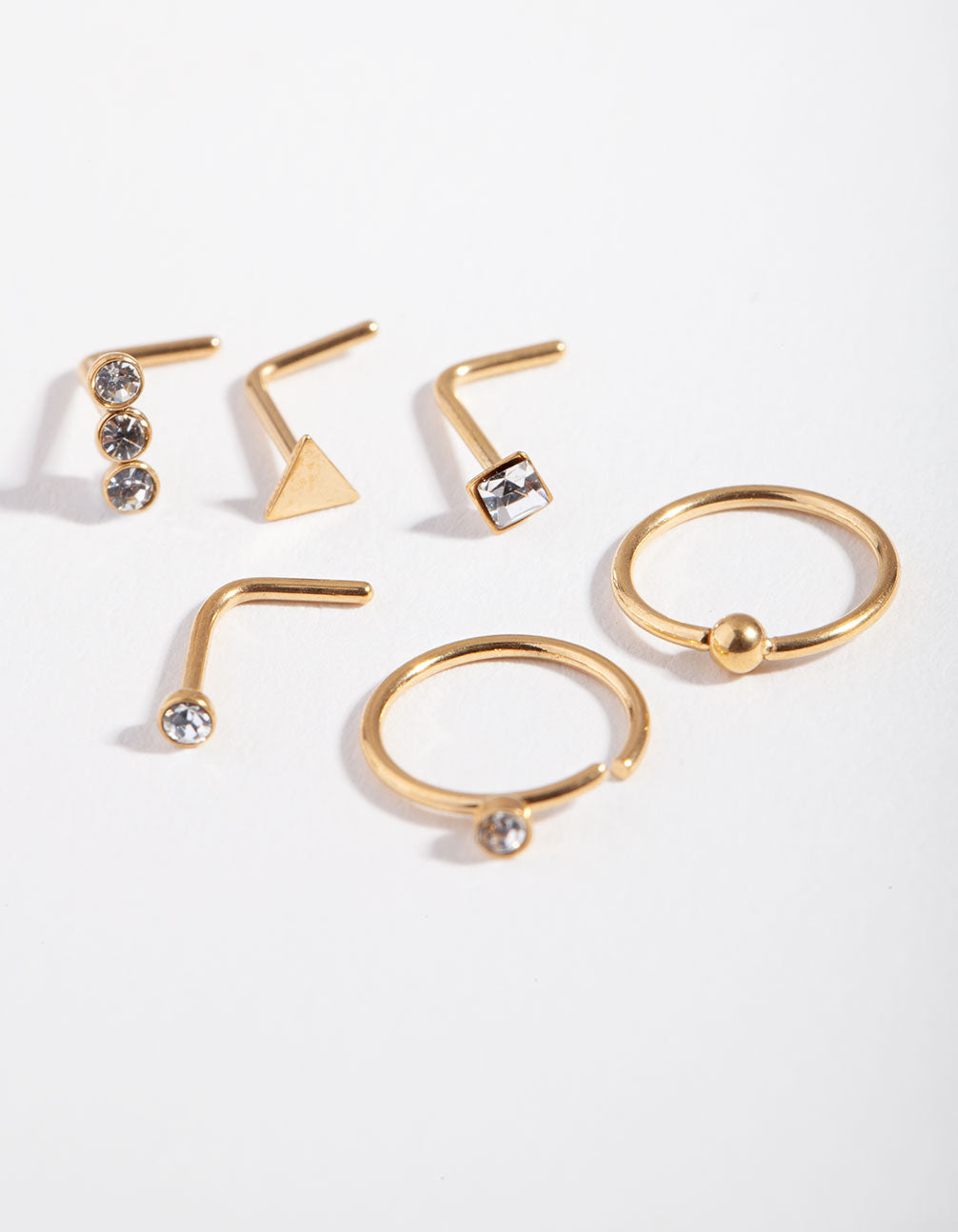 Gold Geometric Diamante 6-Pack Nose