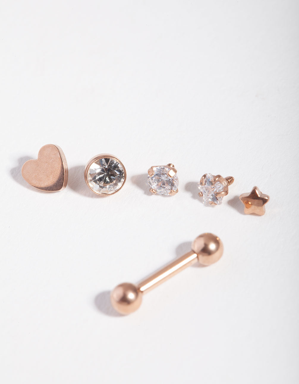 Surgical Steel Rose Cubic Zirconia Heart 6-Pack Earrings