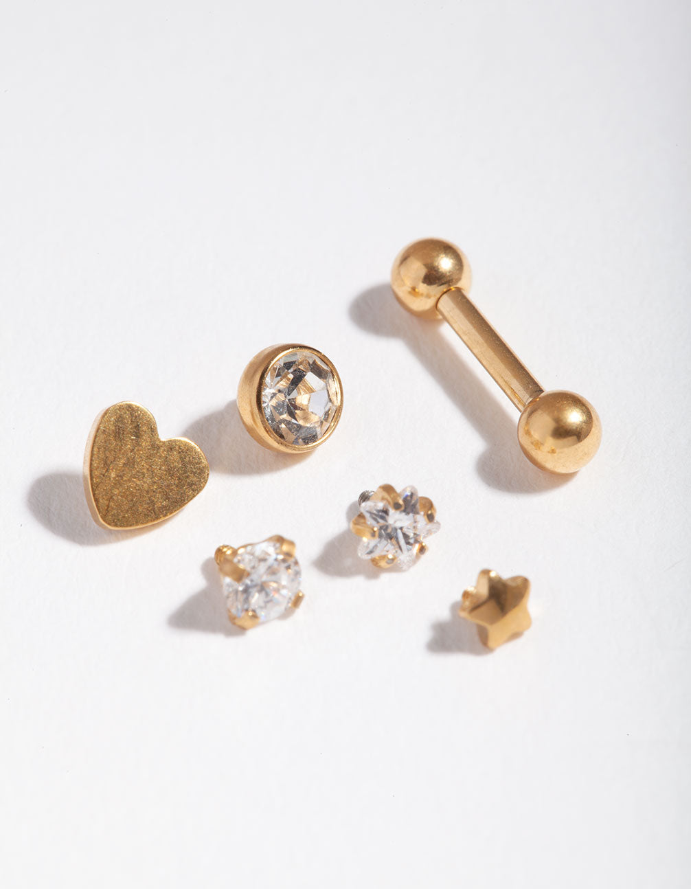 Gold Cubic Zirconia Heart 6-Pack Barbell