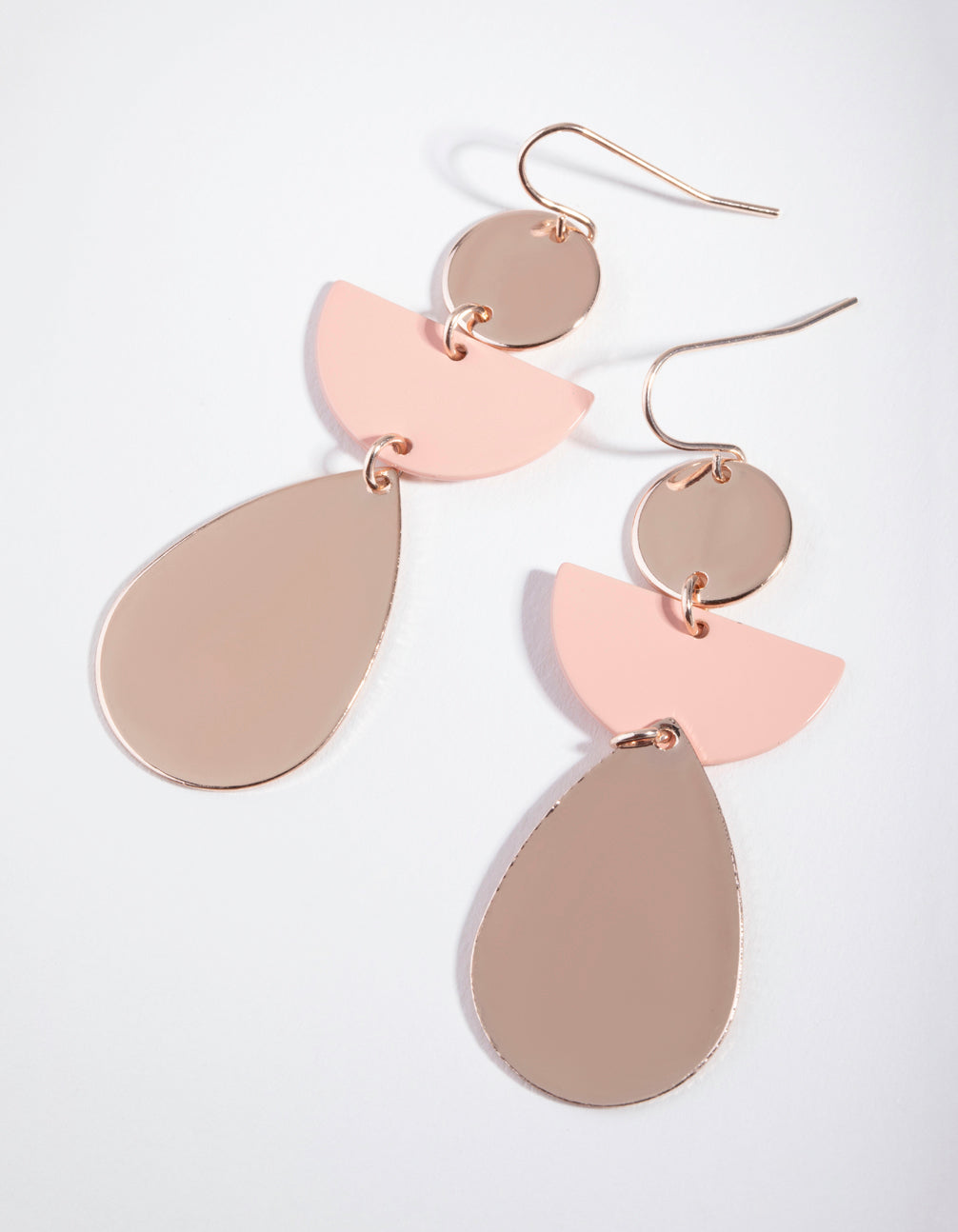 Rose Gold Shapes Drop Earrings