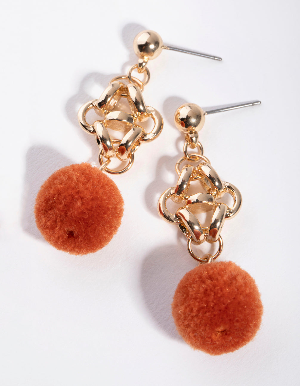 Gold Fuzzy Ball Drop Earrings