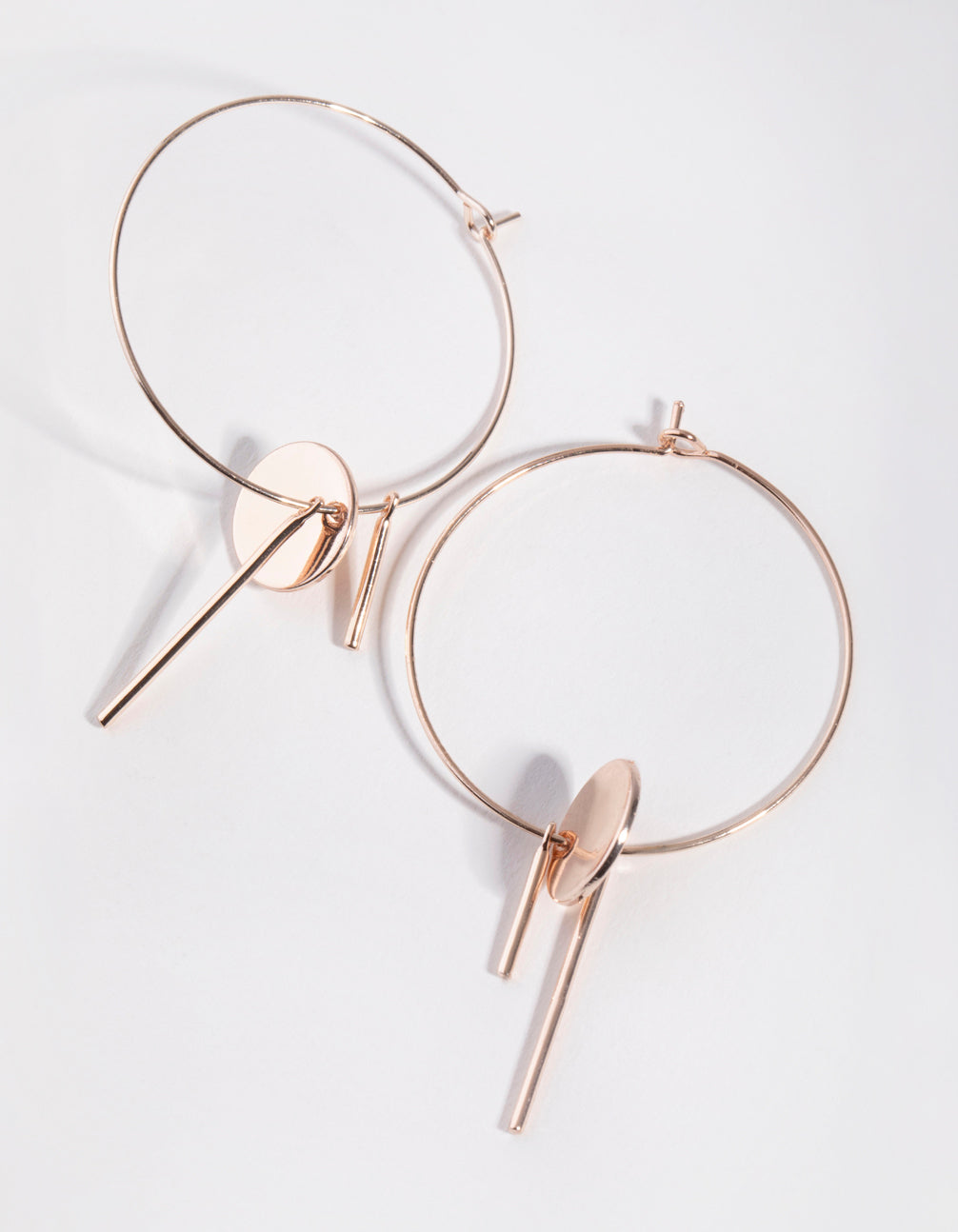 Rose Gold Disc Stick Hoop Earrings