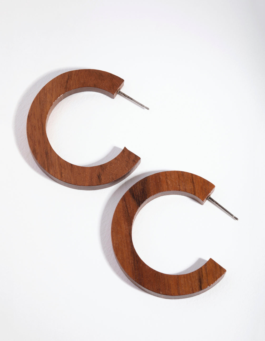 Wood Flat Hoop Earrings