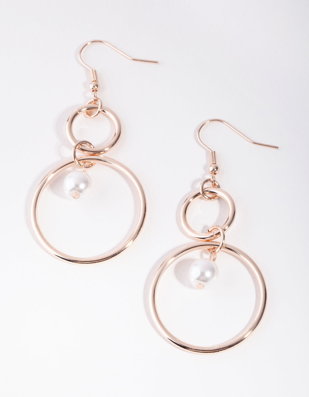 Rose Gold Pearl Double Circle Drop Earrings