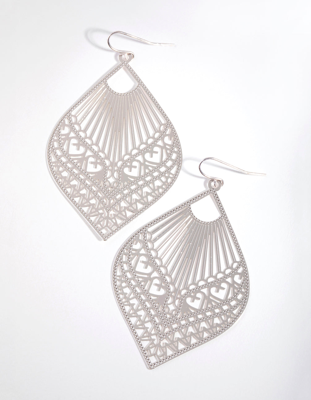 Silver Heart Stamp Drop Earrings