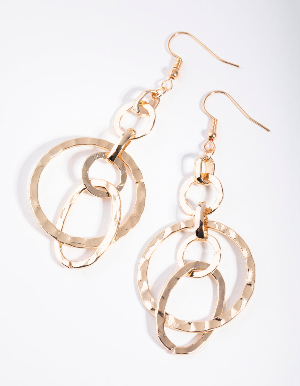 Gold Intertwined Round Drop Earrings