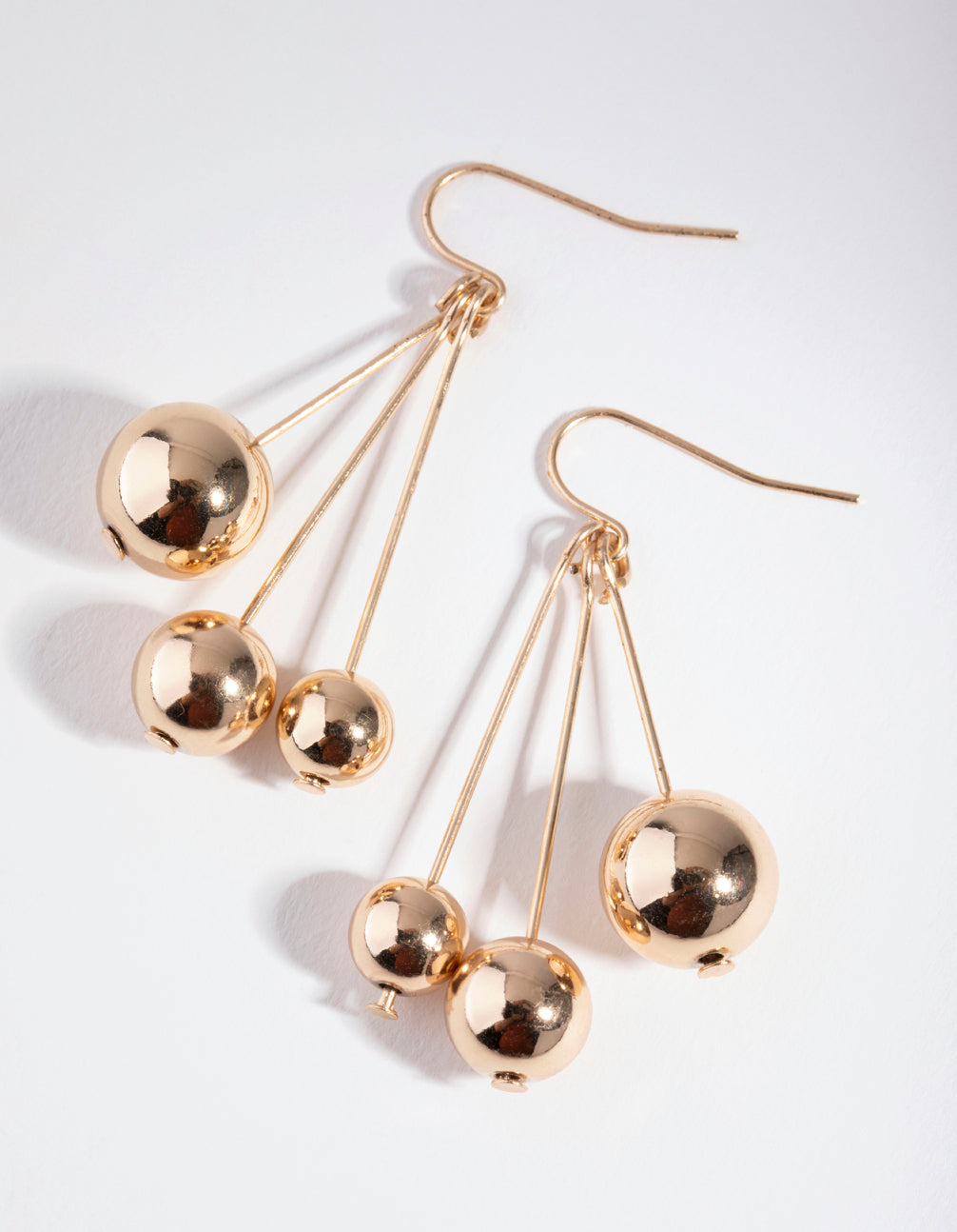Gold Three-Ball Stick Drop Earrings