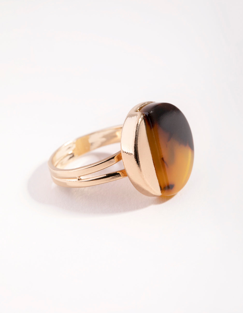 Gold Half Tortoise Shell Ring