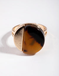 Gold Half Tortoise Shell Ring - link has visual effect only