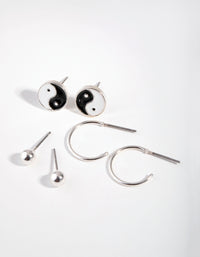 Silver Yin and Yang Three-Pack Earrings - link has visual effect only