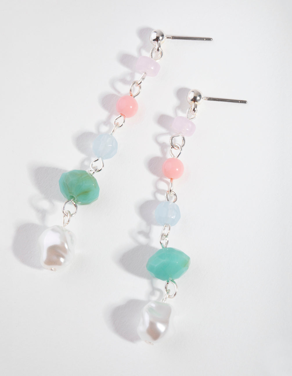 Silver Mini Bead Drop Earrings