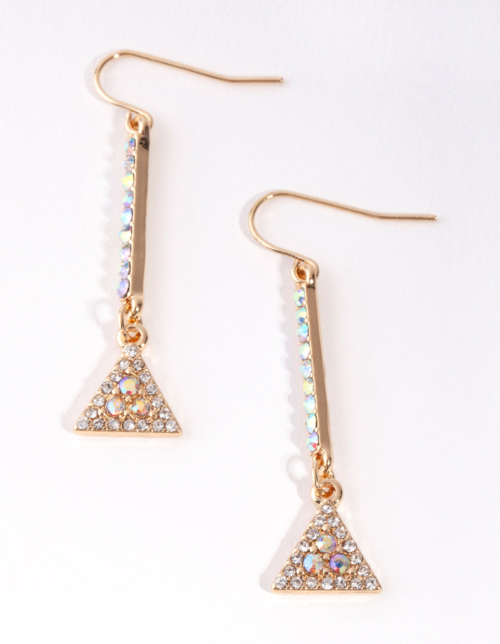 Gold Diamante Triangle Drop Earrings