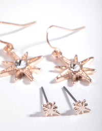 Rose Gold Diamante Starburst Two-Pack Earrings - link has visual effect only